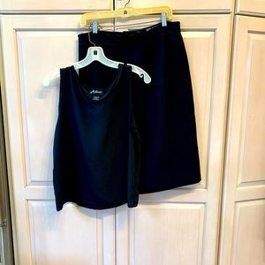 Two Piece Ladies Black Midi Skirt with Camisole